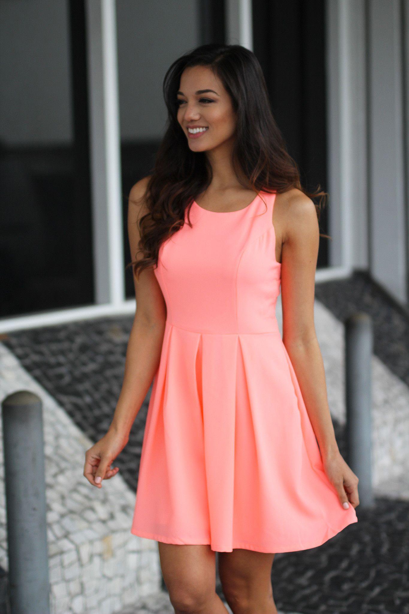 Neon Peach Short Dress with Open Back | Pinterest