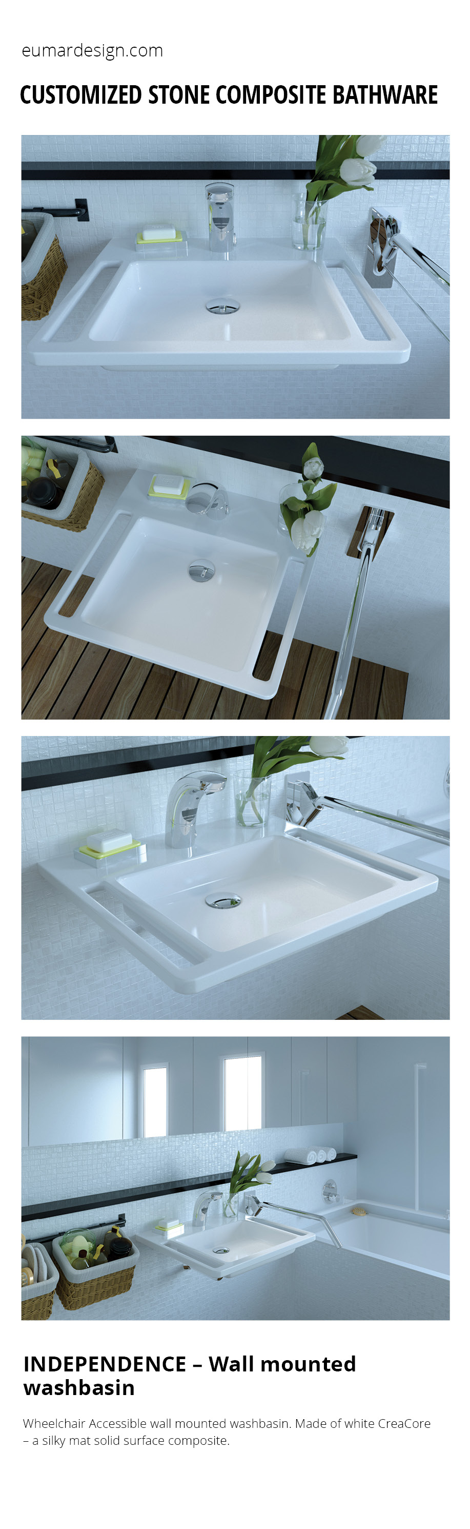 Wheelchair accessible bathroom concept for people with reduced ...