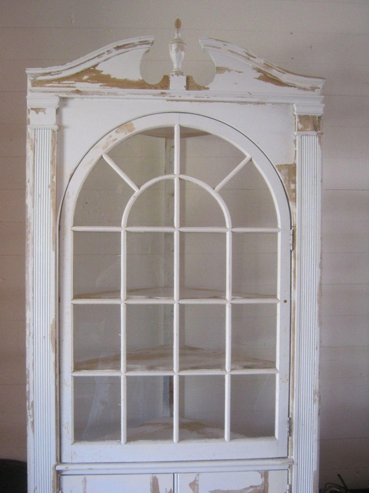 Antique Vintage Built In Corner Cabinet China Cupboard 1940's Chippy white  paint - Antique Vintage Built In Corner Cabinet China Cupboard 1940's