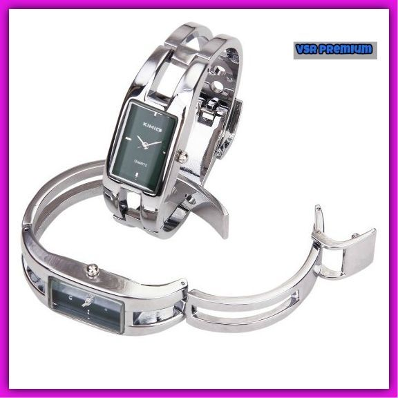 9375cacce1 Stunning Women Silver Bracelet Wrist Watch Valentines Day Gift Open Bangle  Style