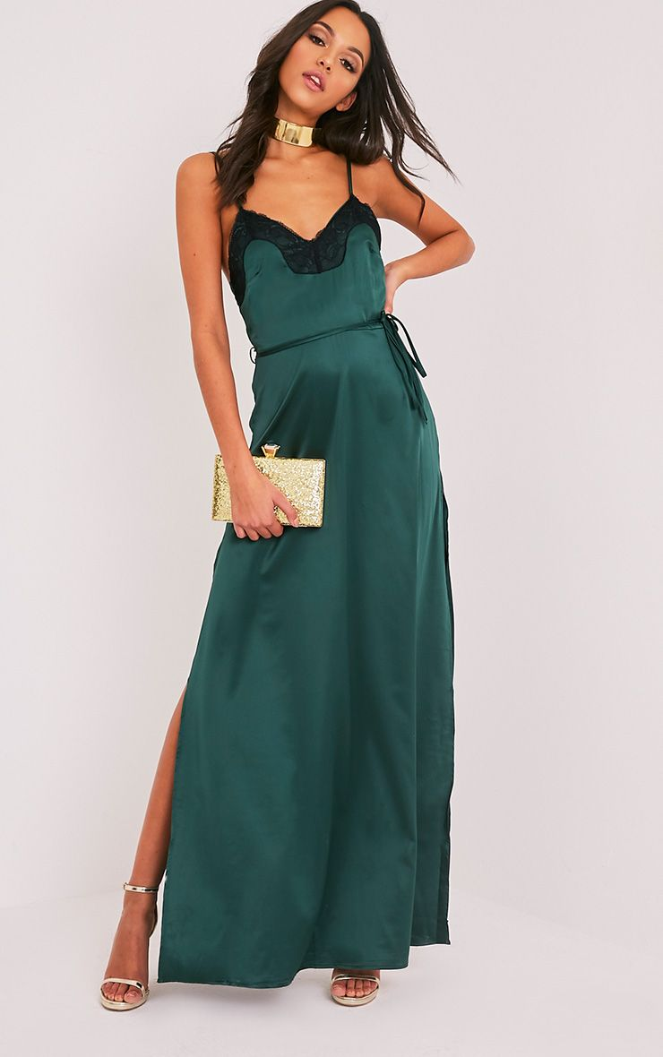 ddcbbcd7913 Laurie Emerald Green Satin Lace Trim Maxi Dress