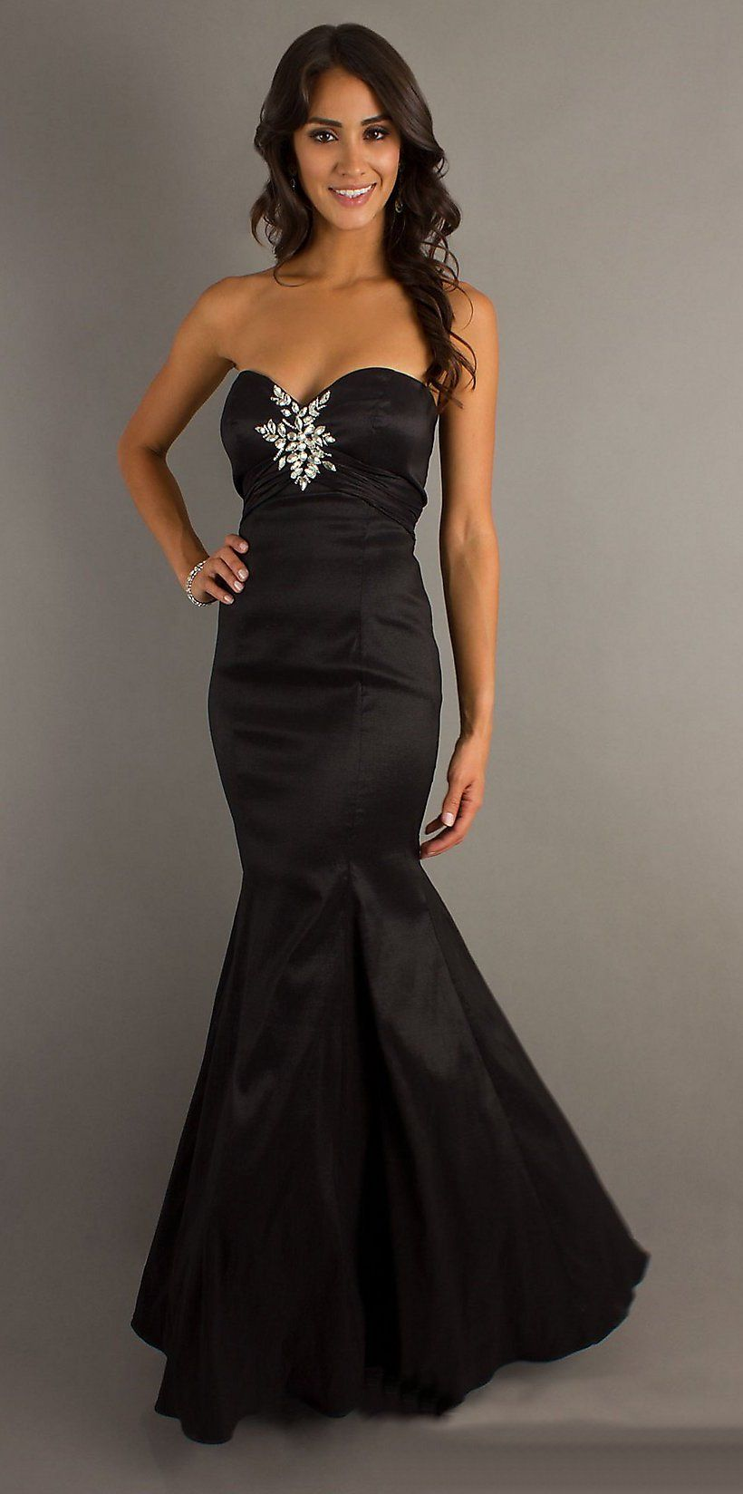 Black Mermaid Prom Dress Long Strapless Classic Hollywood Style (5 ...