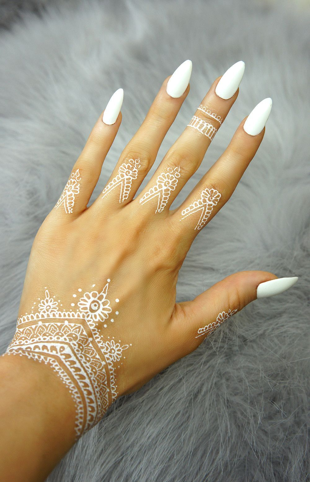 Henna Love Decoration White Birthdays Nails Acrylic Nails