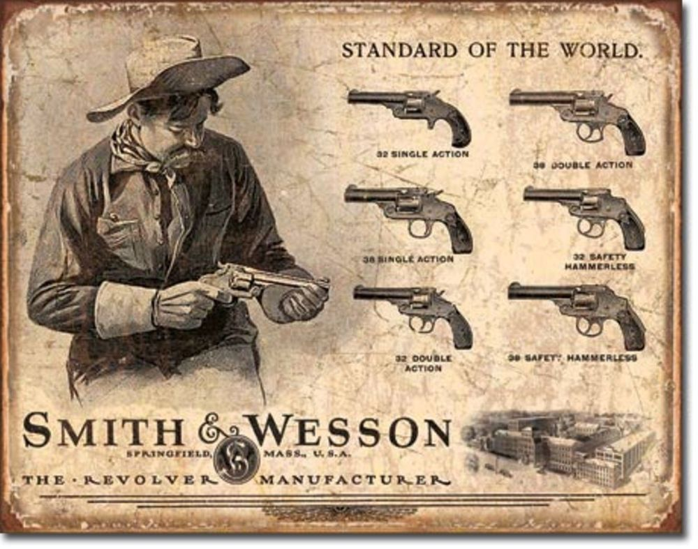 smith amp wesson revolver pistol gun metal sign new vintage