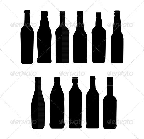 abstract bottle sign set black color isolated bottle ai rh pinterest com