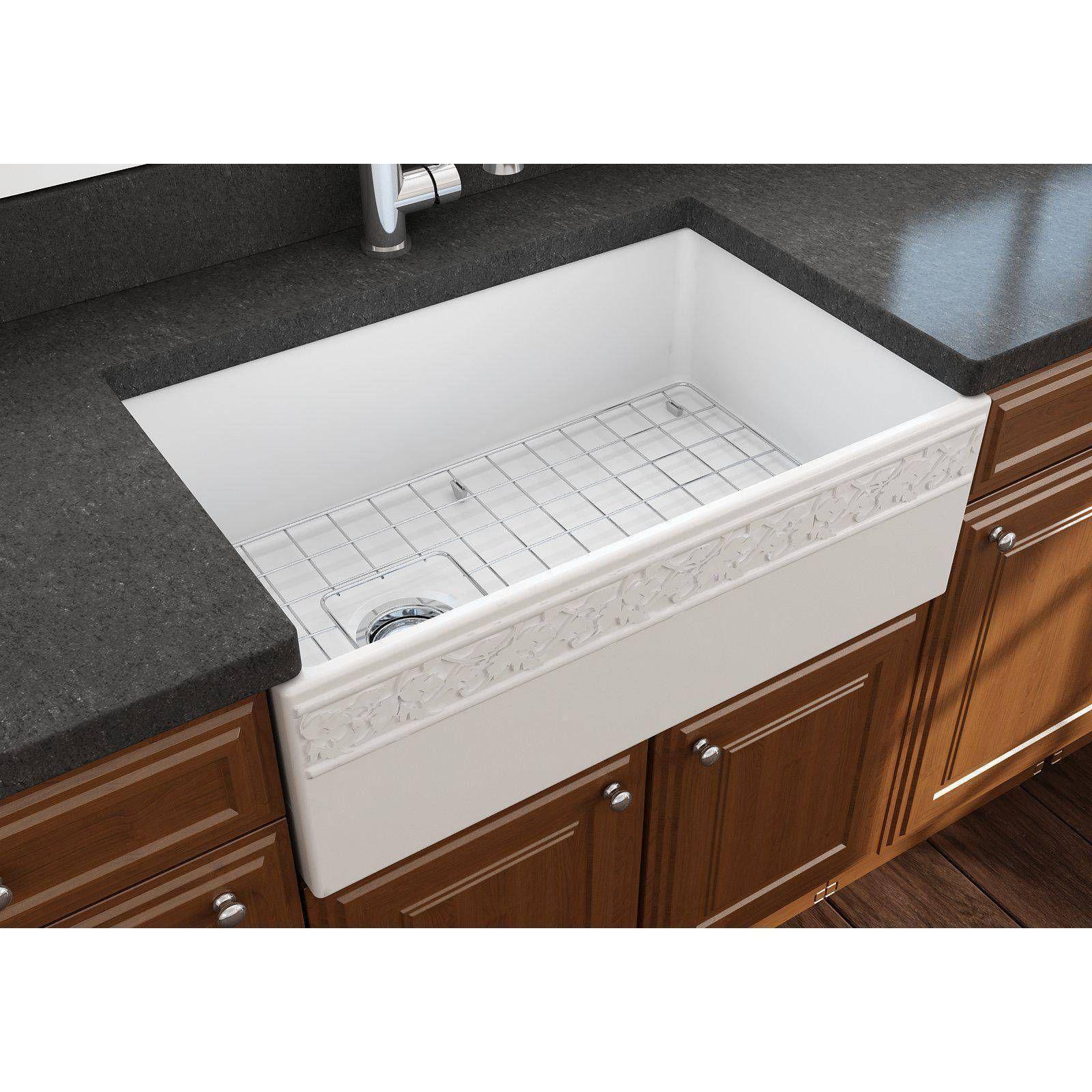 Bocchi Vigneto 30 White Fireclay Single Bowl Farmhouse Sink W