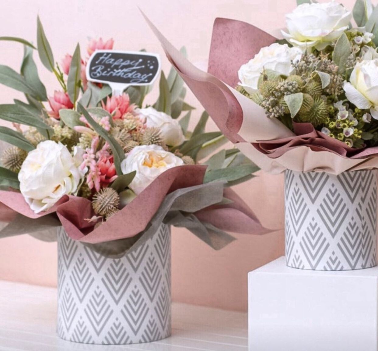 Gift Flower Box Round Geo White Grey (25x25cmH) Set 7
