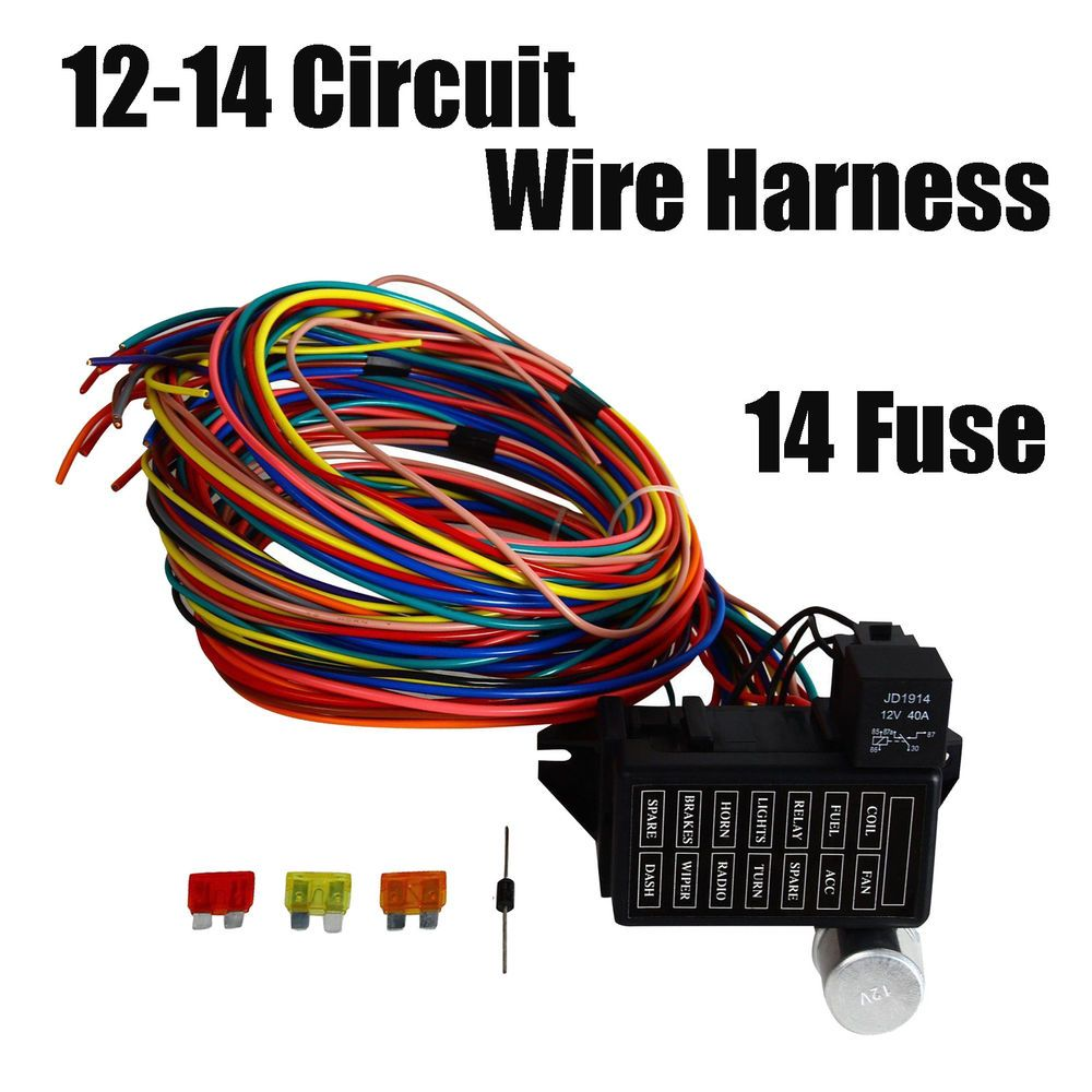 Universal Gxl Copper Wire Race 14 Fuse 12 Circuit Harness Wiring For Car