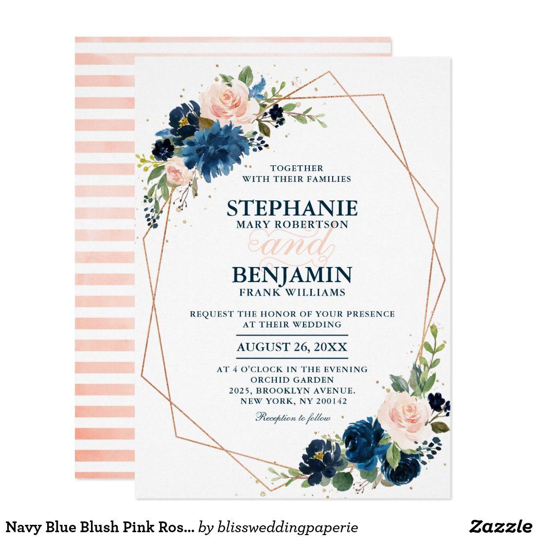 Navy And Peach Wedding Invitations: Navy Blue Blush Pink Rose Boho Geometric Wedding