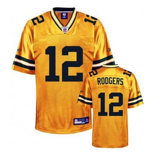 Rodgers Jersey, #12 Green Bay Packers Authentic Jersey in Yellow ...