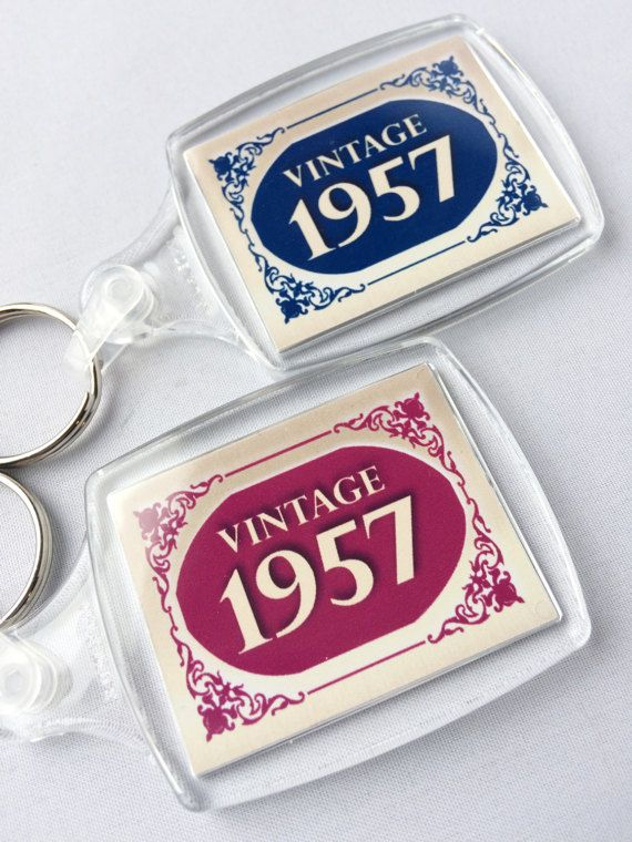 Vintage 1957 Happy 60th Birthday Keyring Gift Sixty Year Of