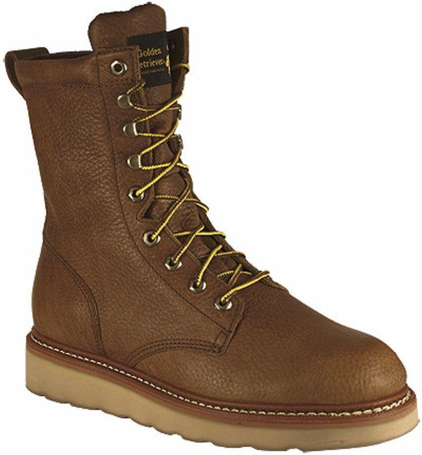 Mens Golden Retriever 8 Inch Tan Wedge 08059 2e Wide Work Boots Sz