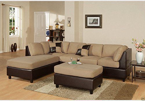 Poundex Bobkona Hungtinton Microfiber/Faux Leather Sectional In Hazelnut      Lowest Price Online On All Poundex Bobkona Hungtinton Microfiber/Faux  Leather ...