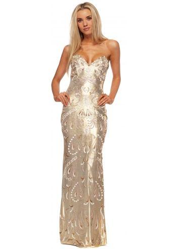 Holt Gold Metallic Painted Bustier Evening Dress | Designer ...