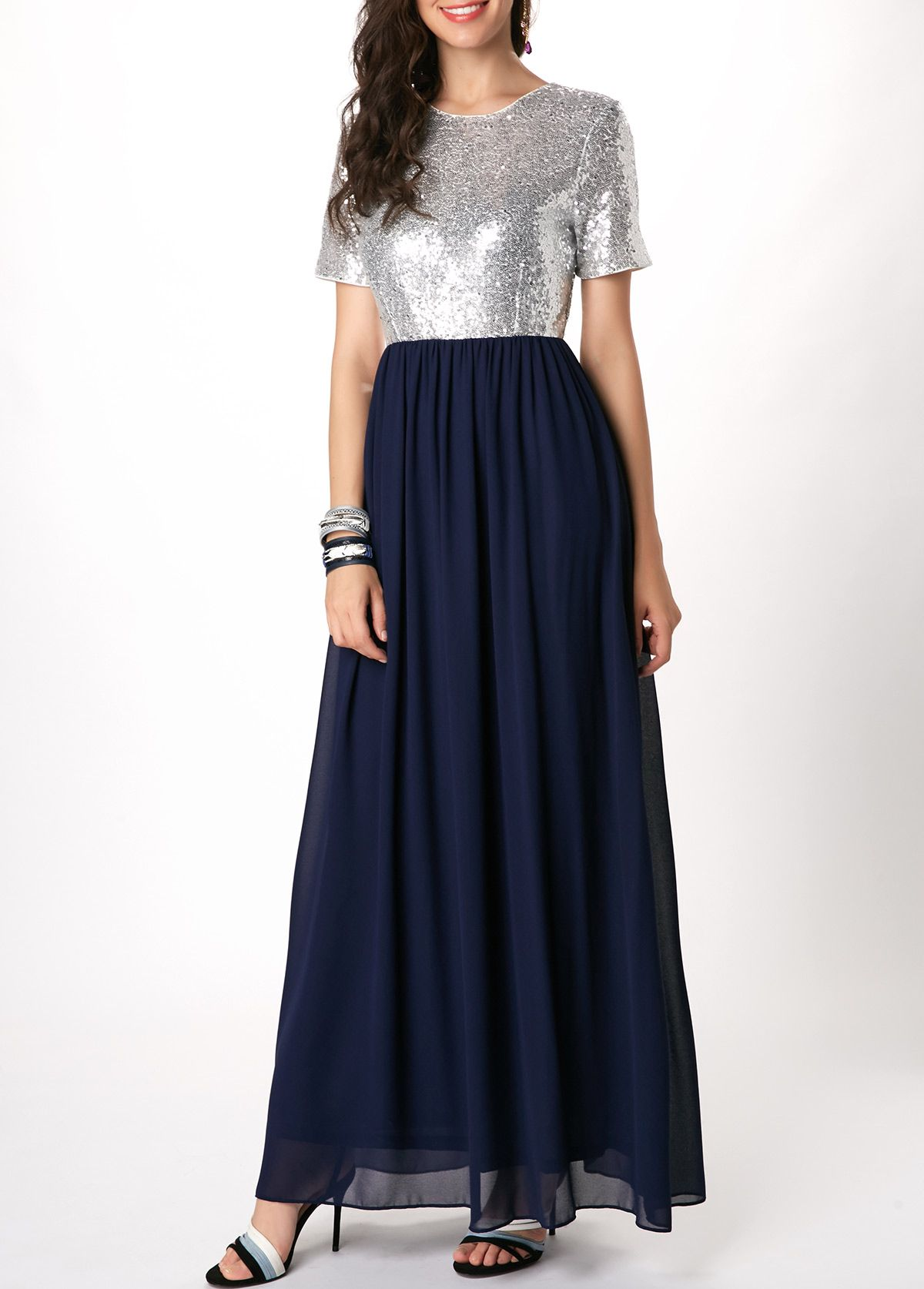 052b6cab0c High Waist Short Sleeve Sequin Embellished Maxi Dress