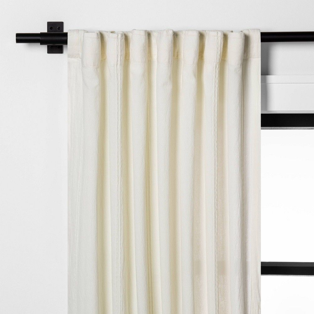 95 Textured Curtain Panel Sour Cream Hearth Hand With