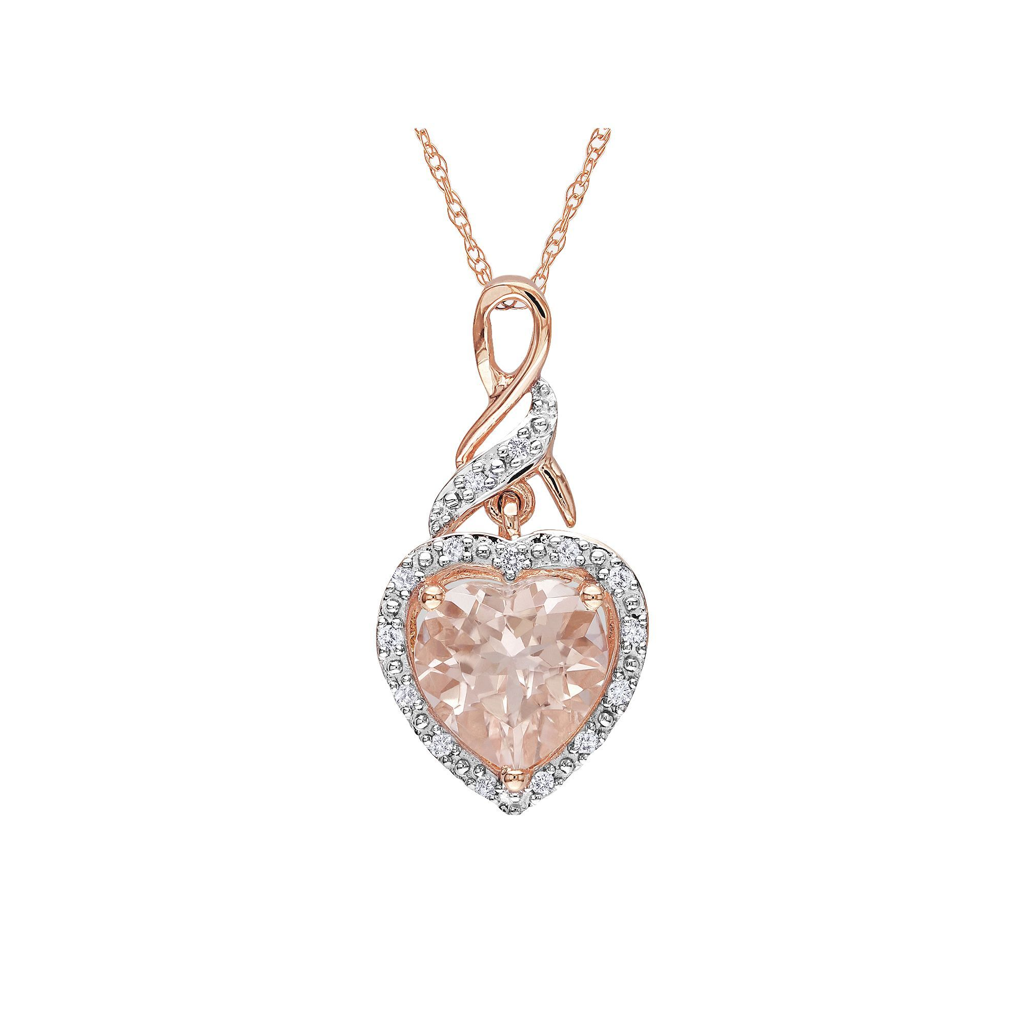 Stella grace k rose gold morganite and diamond accent heart