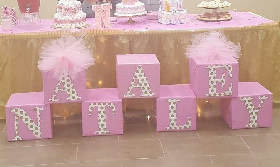 Shower Name Box Decor With Images Baby Shower Princess Baby