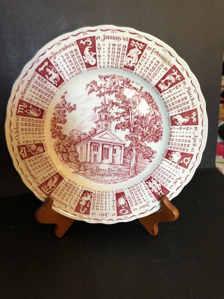 vtg royal staffordshire england 1965 calande plate 9 household