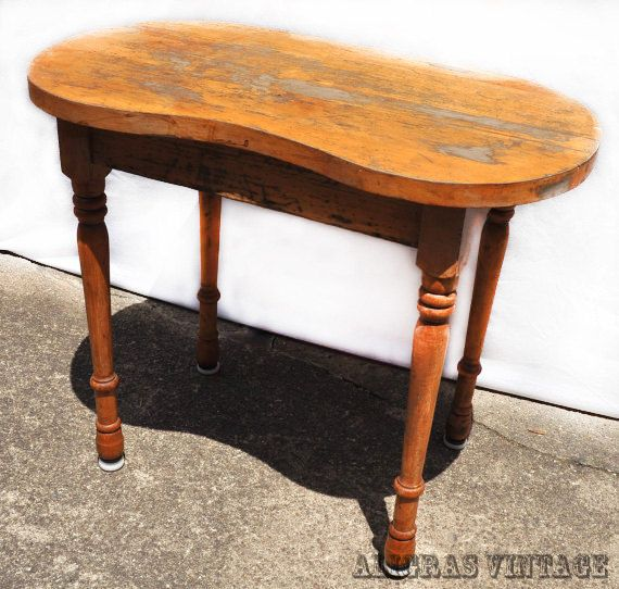 Reserved for Erica Vintage Wooden Kidney Stool Vanity