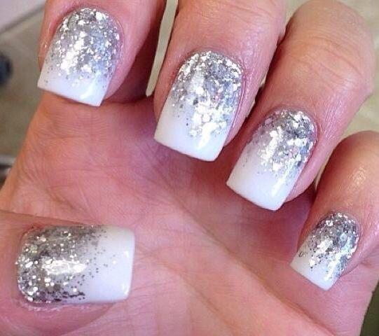 Long White Glitter Nails Nagels Bruids Nagels Gelnagels