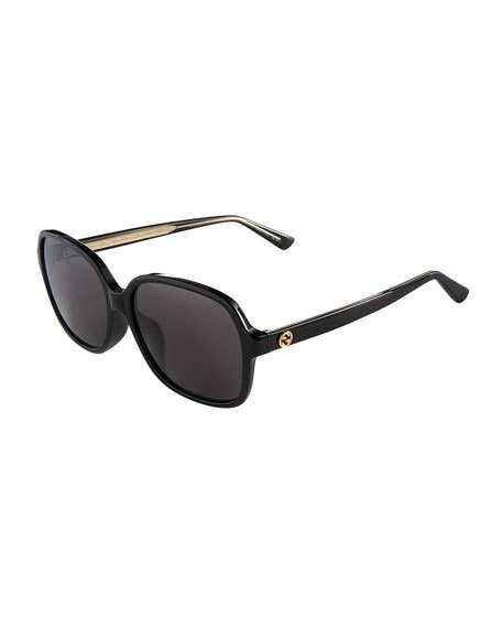 Gucci Gg0091s Acetate Round Women S Sunglasses In Black Shaded Black Modesens