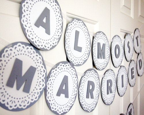 Customizable Silver Grey & White Lace Banner for Bridal Showers or Baby Showers. $44.95, via Etsy.