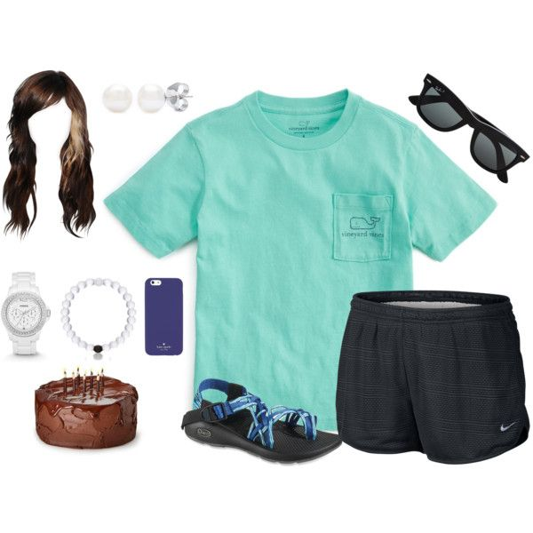 Summer 2k15: Day 86 (My 20th Birthday!) by bubblebuddy855 on Polyvore featuring Vineyard Vines, NIKE, Chaco, FOSSIL, Kate Spade and Ray-Ban