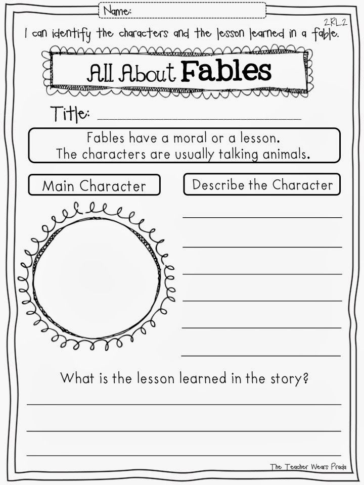 Second Grade With The Teacher Wears Prada Common Core Reading Response Pages Common Core Reading Reading Response First Grade Reading Fables worksheet 2nd grade