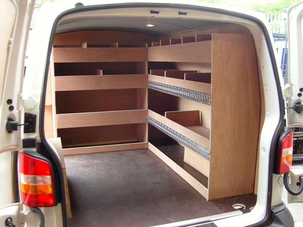 0d316be520 VW T5 SWB - Bulkhead and offside shelving with loadlok to secure cargo