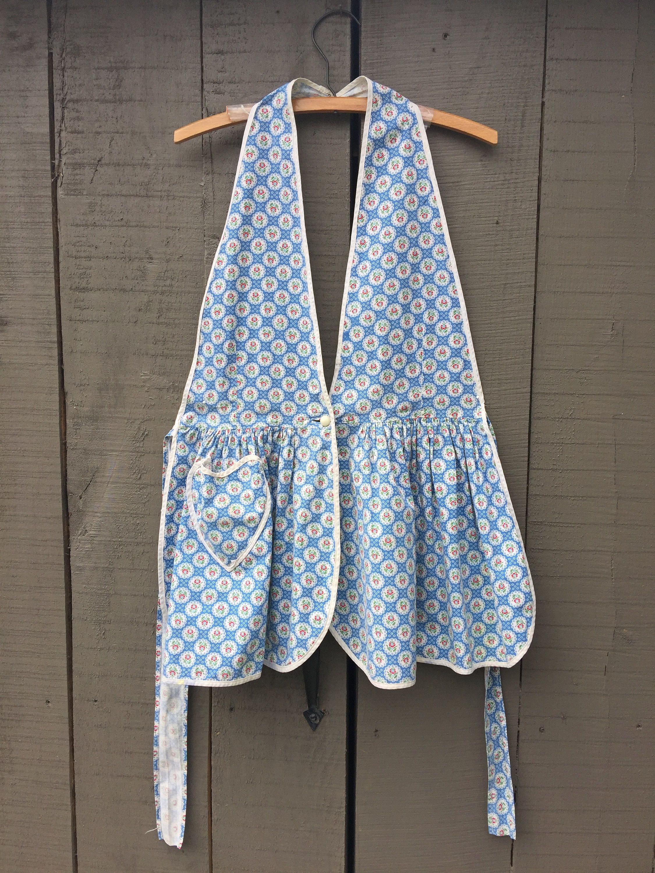 Farm apron vintage full blue print hand made