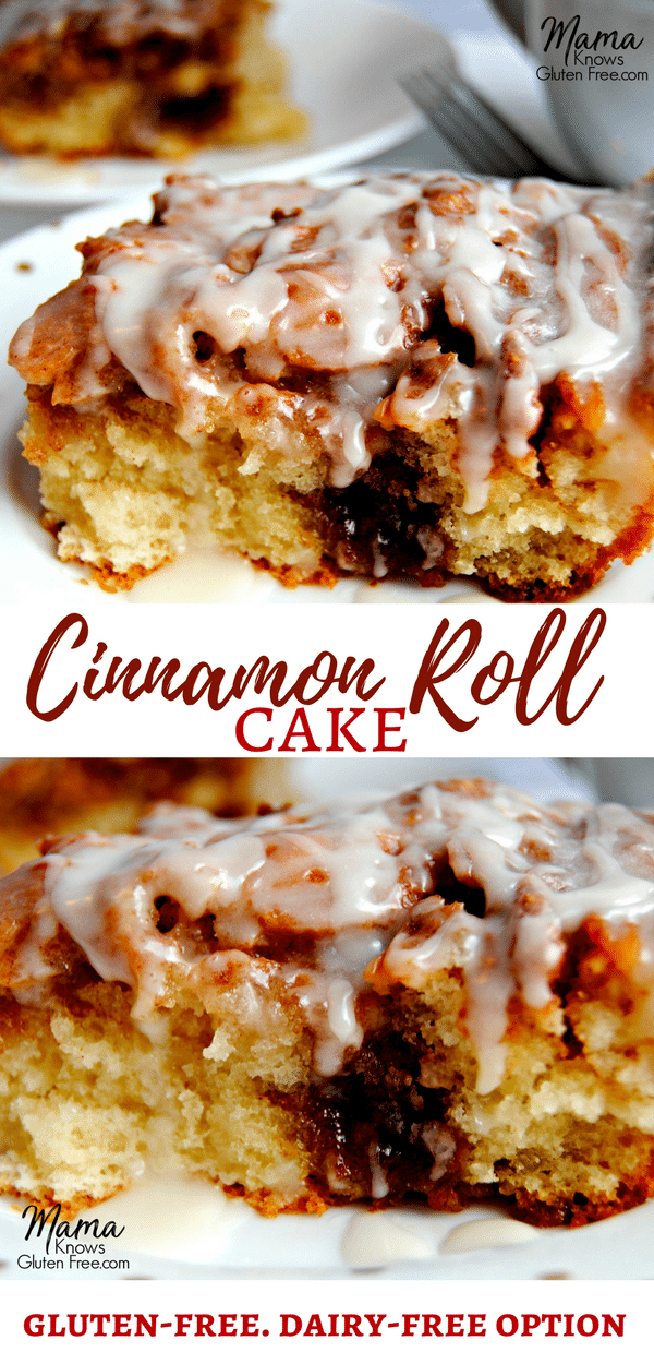 Do you miss cinnamon rolls and cinnamon buns since going gluten-free? Now you don't have to! This is not your average cinnamon cake. This gluten-free cinnamon roll cake has both the texture and the taste of a gooey cinnamon roll. Cinnamon rolls are not just for breakfast anymore. Dairy-free option. Recipe from mamaknowsglutenfree.com #glutenfreecinnamonrolls #glutenfreecinnamonrollcake #glutenfreecake #glutenfreerecipe #dairyfree #rollcake