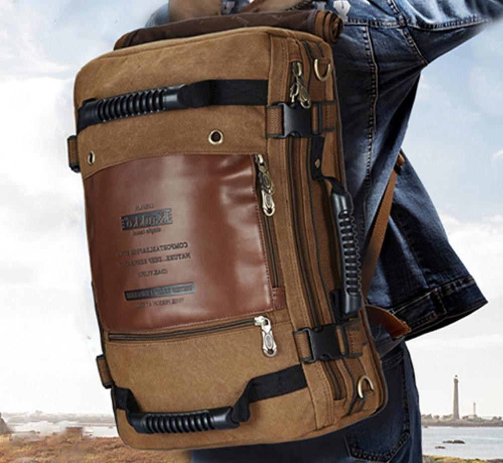 KUAKKO Men Canvas Laptop Backpack Outdoor Sport Shoulder Travel bag Strong