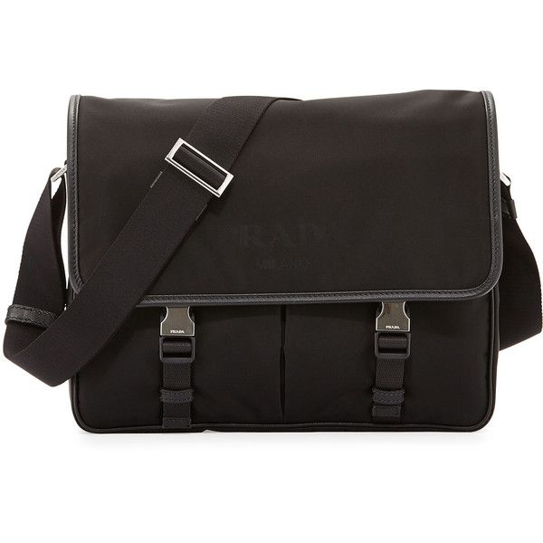 bf783026211 Prada Large Nylon Messenger Bag ( 1,180) ❤ liked on Polyvore featuring  men s fashion, men s bags, men s messenger bags, bags, black, men bags  messenger ...