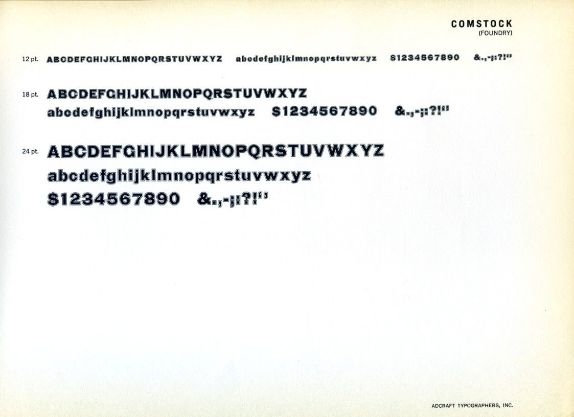 Comstock type specimen typography type specimen
