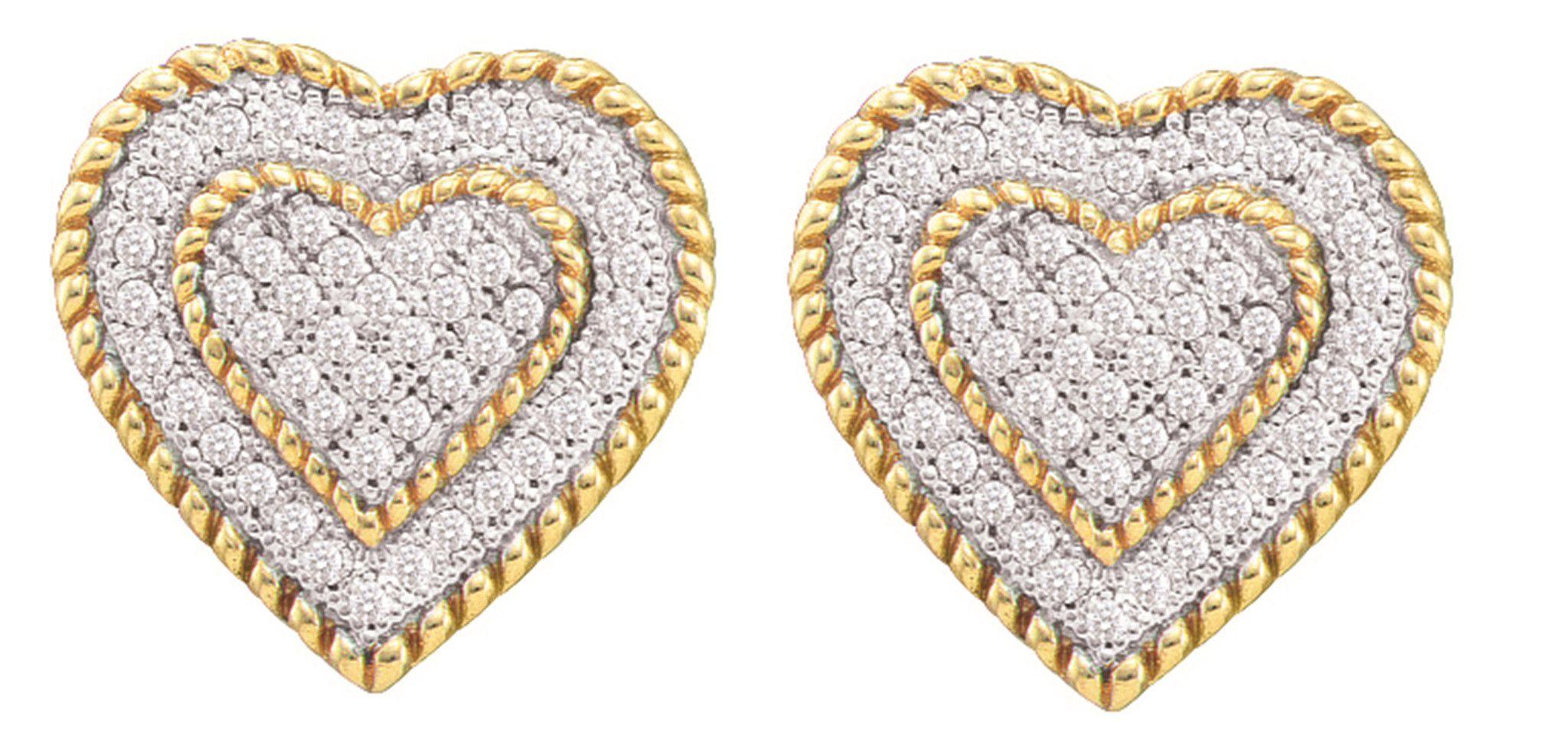 0.33CT Diamond 10K Yellow Gold Heart Earrings