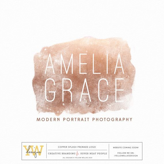 Premade Photography Logo  Copper by YellowWelliesDesigns on Etsy