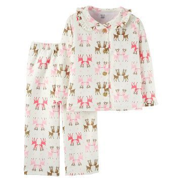 ed1e5d6214 Baby Girls  2-Piece Long-Sleeve Fleece Coat Pajama Set Reindeer - Just One  You™Made by Carter s®