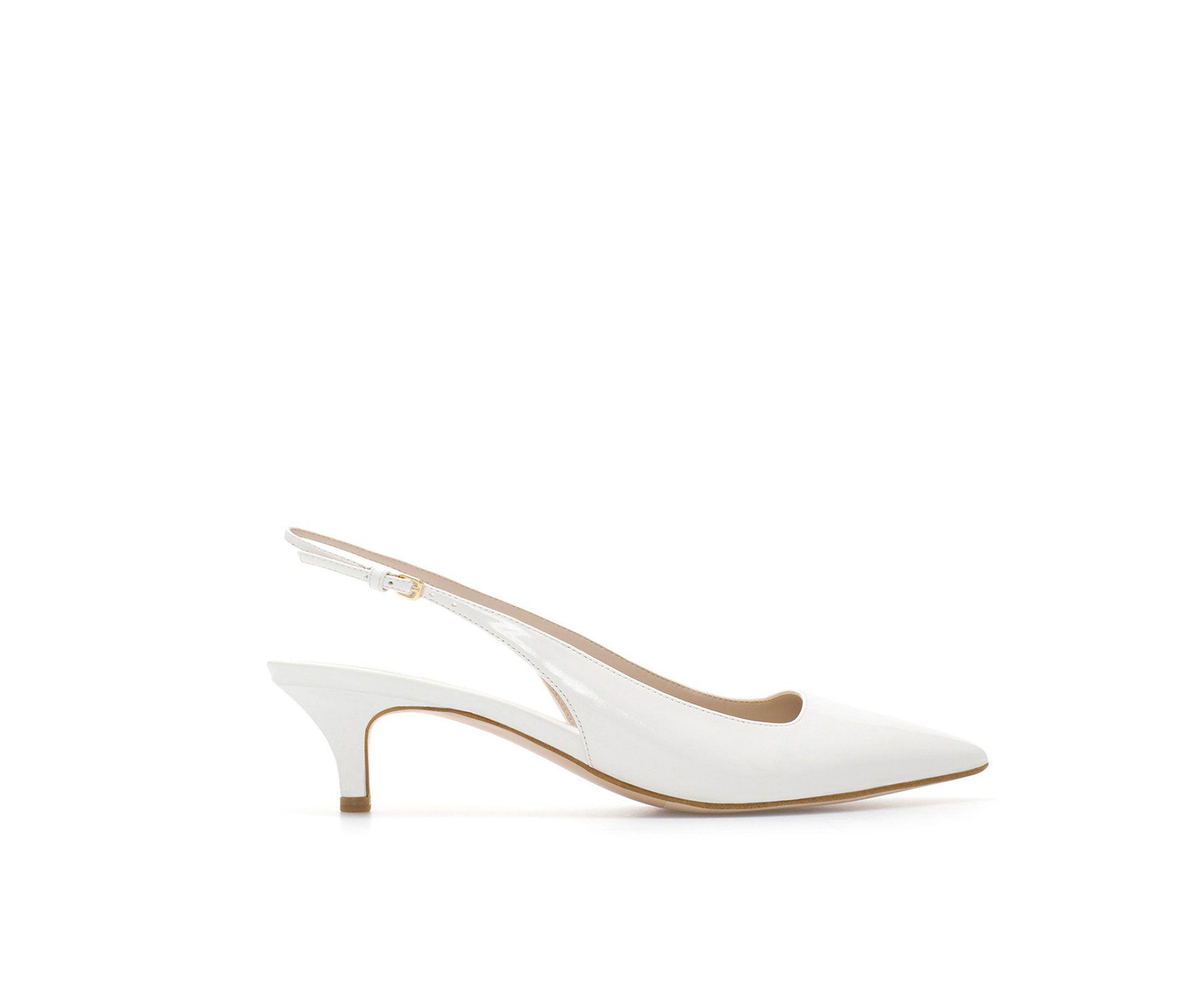 Zara Woman Kitten Heel Synthetic Patent Leather Sling Back Shoes Low Heel Pumps Heels Kitten Heels