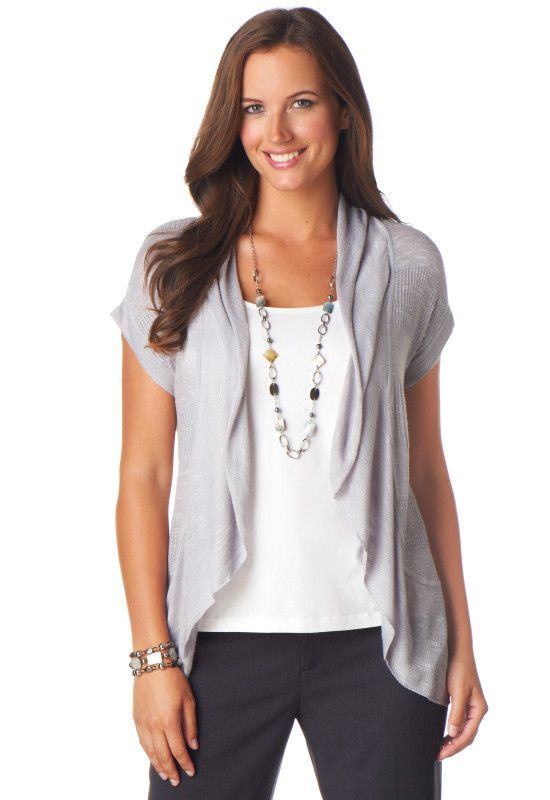 deb60e72c1a5 I like the layered look, the long necklace and I love love love the short  sleeve cardigan!