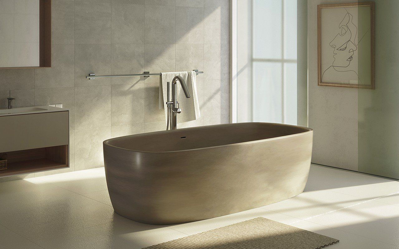 Aquatica Coletta Sandstone Freestanding Solid Surface Bathtub