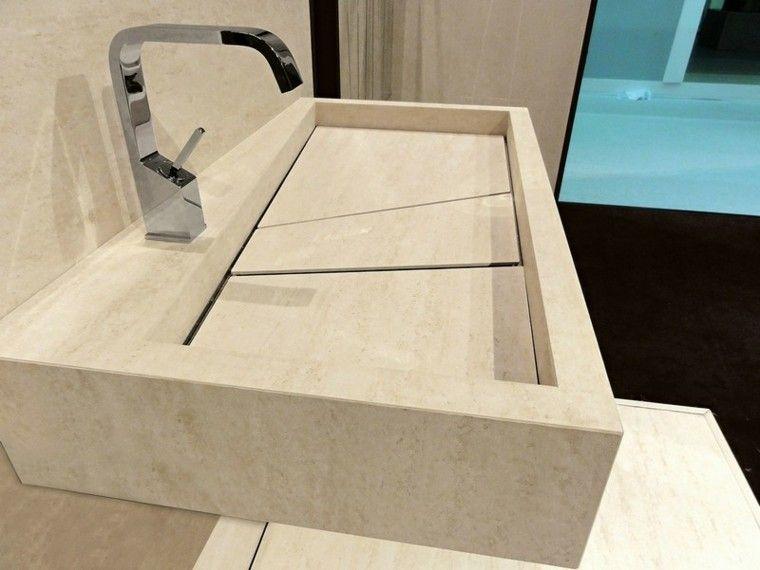 Lavabo de m rmol travertino de color beige lavabos for Banos marmol beige