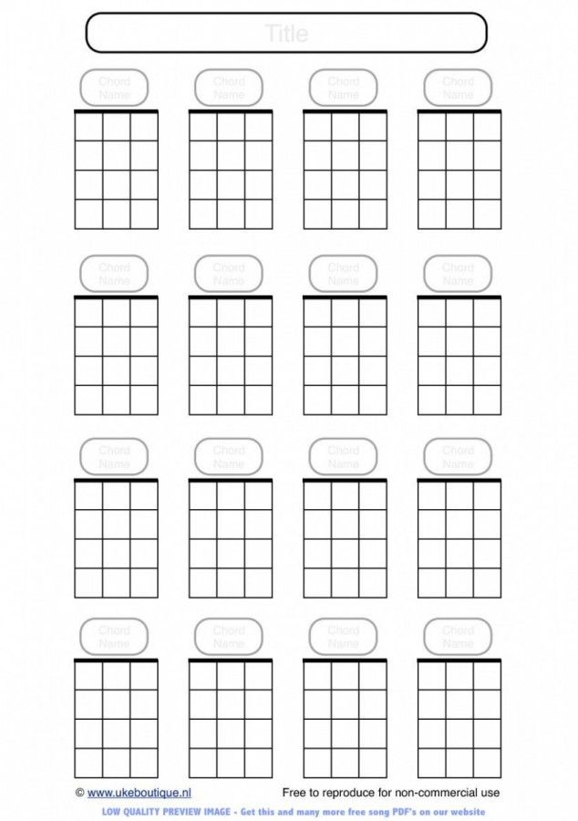 Blank Ukulele Chord Paper Handy For Lefties Music Education