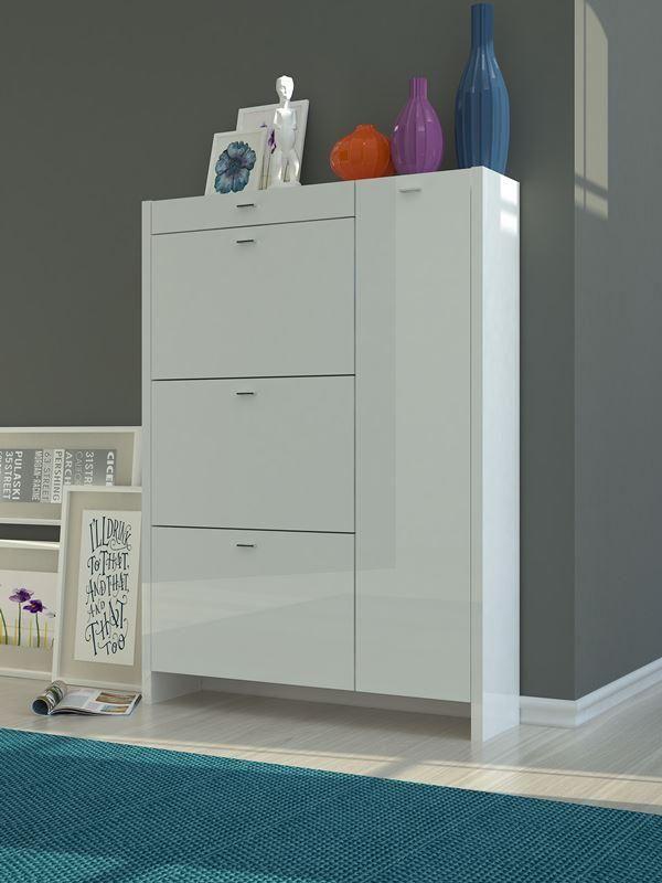 Balzo Modern Shoe Cabinet In White High Gloss Finish Homedesign