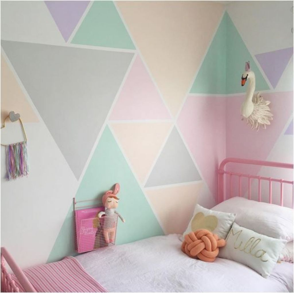 Nice Refreshing And Cheerful Geometric Walls Design Ideas Best For Kids And Nursery Rooms Improving Play Girls Room Paint Bedroom Wall Paint Kids Bedroom Paint
