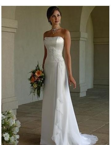 strapless appliqued slim column shape summer wedding dress with lace up and chapel train wm0120