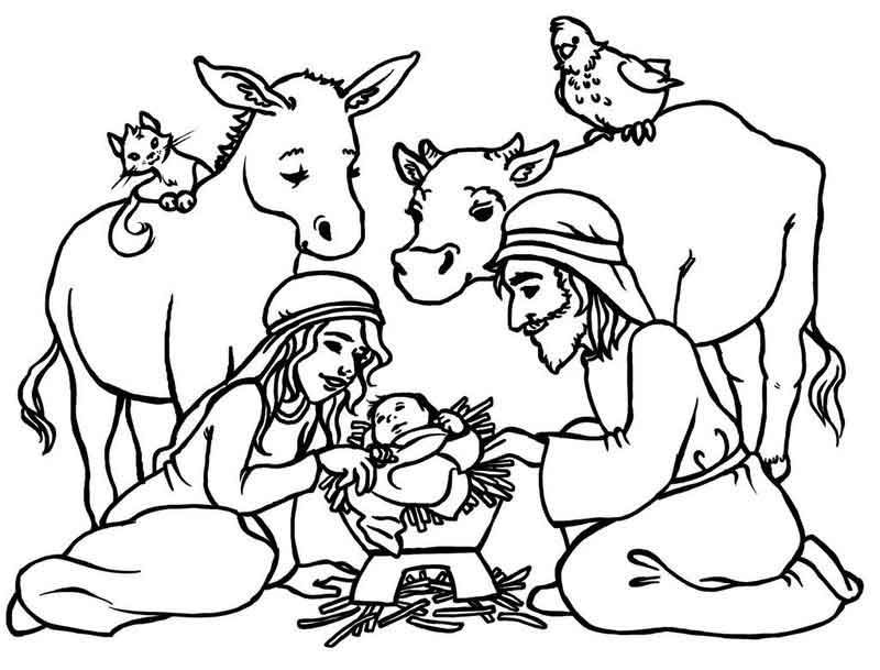 Nativity Scene Coloring Page With Animals From Events Coloring