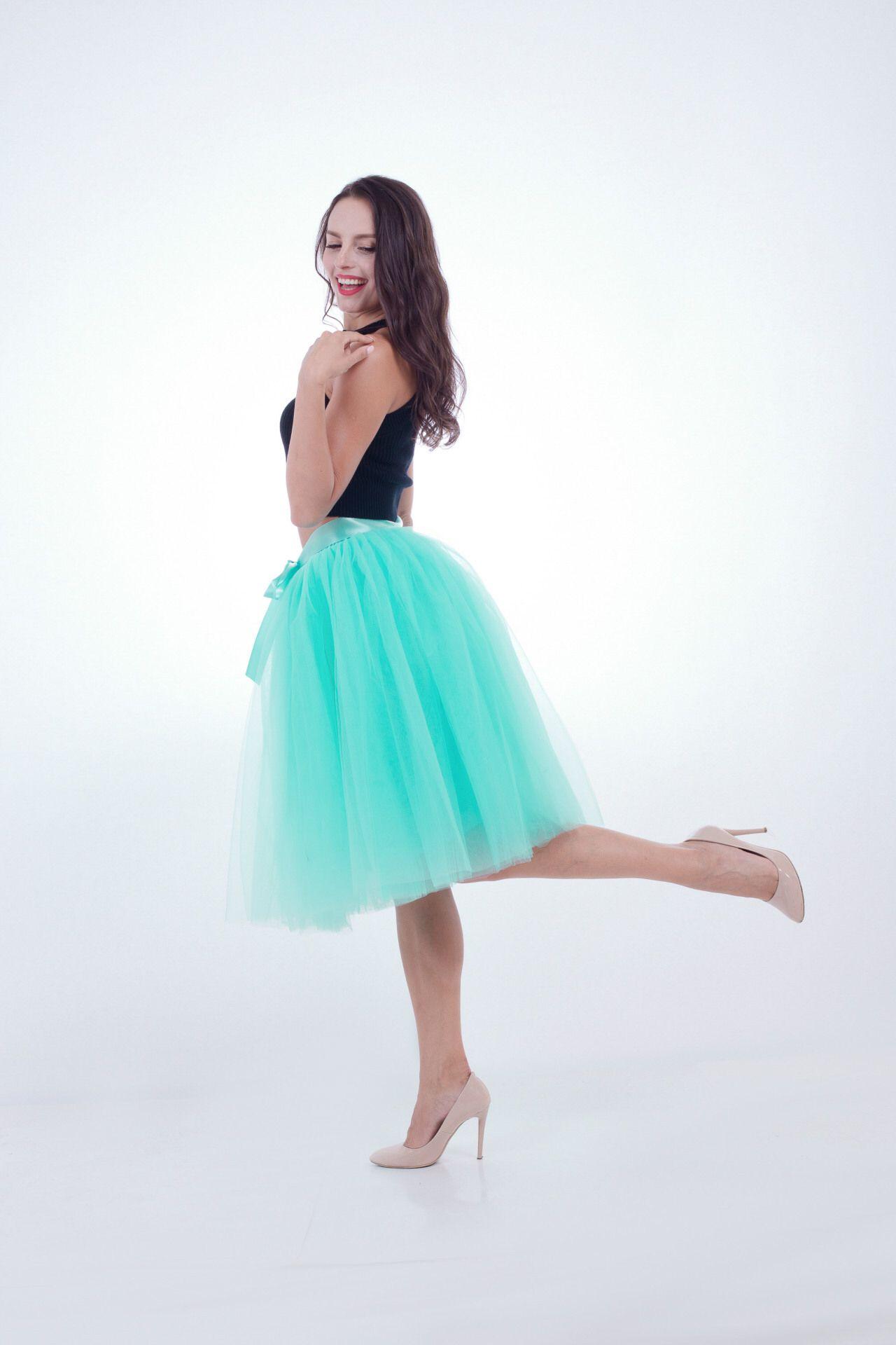 6 Layers Midi Tulle Skirts Womens Tutu Skirt Elegant Wedding ...