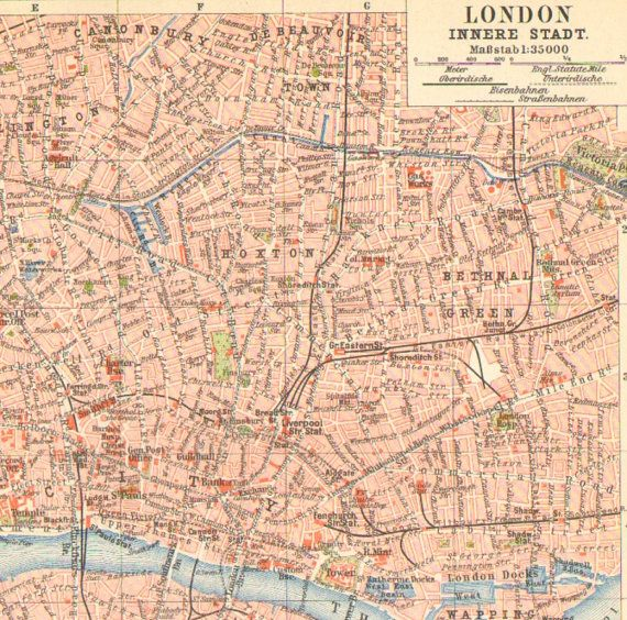 1896 Original Antique City Map of Downtown London in the 19th