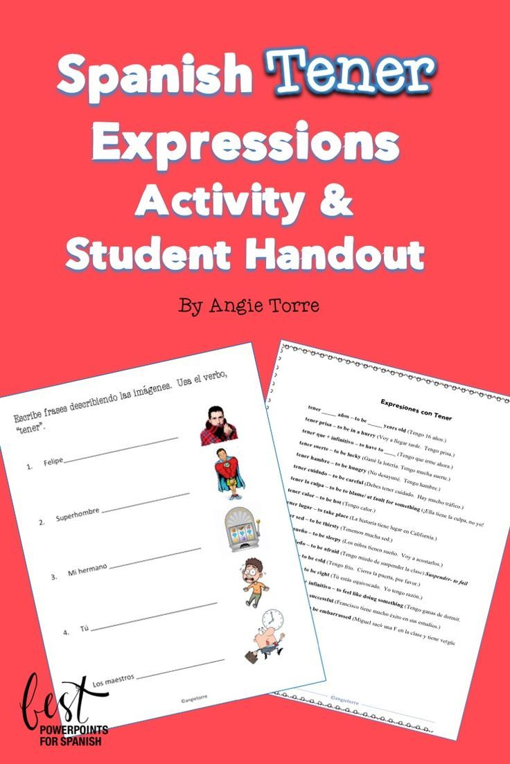 Spanish Verb Tener Expressions Activity And Student Handout Distance Learning Expressions Activities Spanish Interactive Notebook Activities Tener Expressions [ 1103 x 736 Pixel ]